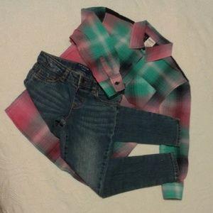 Arizona Skinny Jeans & Shirt size 6 EUC